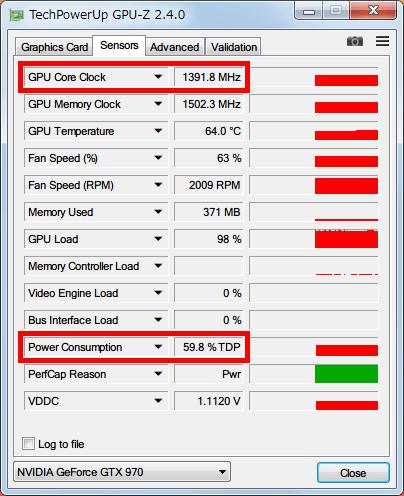 NVIDIA Inspector で GTX970 フルロード(P0)時の設定を、Base Clock Offset 0 Mhz、Power and Temperature Target (Power Target、Power Limit) 60%にした場合、GPU-Z NVIDIA GeForce GTX970 の GPU Core Clock (Boost Clock) は 1400MHz 以下、Power Consumption は 60% TDP までとなる