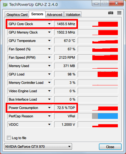 NVIDIA Inspector で GTX970 フルロード (P0) 時の設定を、Base Clock Offset 0 Mhz、Power and Temperature Target (Power Target、Power Limit) 100%にした場合、GPU-Z NVIDIA GeForce GTX970 の GPU Core Clock (Boost Clock) は 1455MHz、Power Consumption は 70% TDP 以上になる