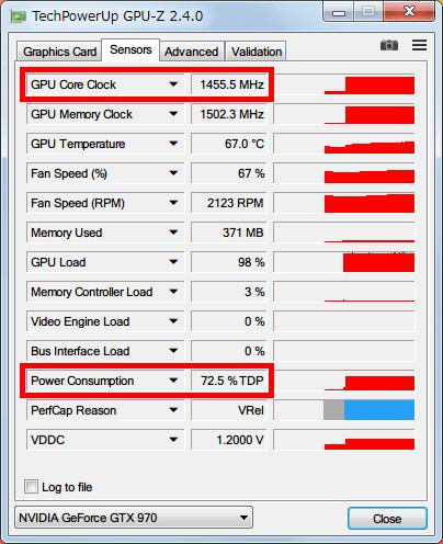 NVIDIA Inspector で GTX970 フルロード (P0) 時の設定を、Base Clock Offset 0 Mhz、Power and Temperature Target (Power Target、Power Limit) 100%にした場合、GPU-Z NVIDIA GeForce GTX970 の GPU Core Clock (Boost Clock) は 1455MHz、Power Consumption は 70% TDP 以上になる