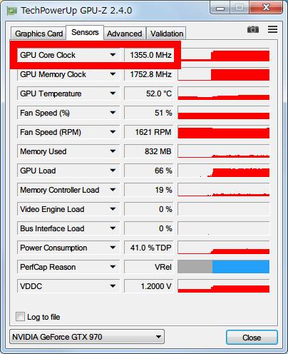 NVIDIA Inspector で Base Clock Offset 変更後の NVIDIA GeForce GTX970 フルロード時 GPU-Z Sensors のモニタリング画面、NVIDIA Inspector GTX970 の P-State が P0 (フルロード) の状態で GPU Core Clock が 1355MHz(1455MHz-100MHz) で稼働しているのを確認