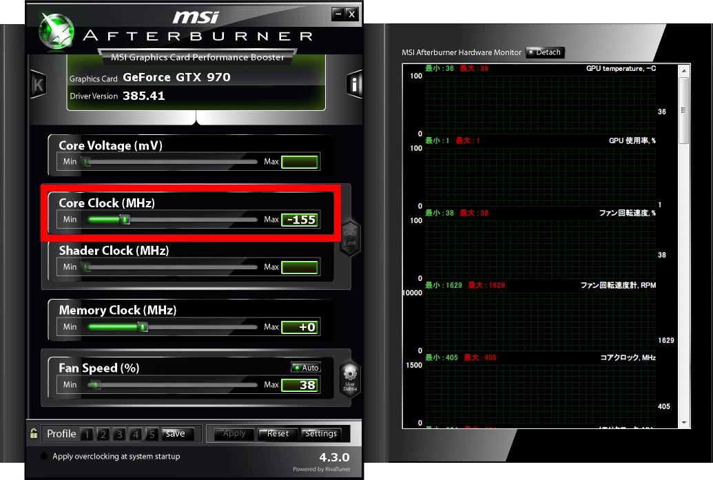 NVIDIA Inspector で Base Clock Offset 変更後、MSI Afterburner でも Core Clock (MHz) 項目が反映されているのが確認できる。GeForce シリーズなら 600番台以降 で GPU Boost 機能があれば、おそらくどのオーバークロックツールでも設定変更が可能と思われる