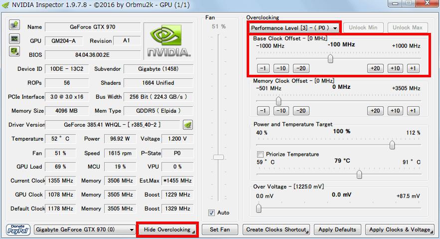 NVIDIA Inspector NVIDIA GeForce GTX970 でオーバークロック設定を開き(Show Overclocking ボタン)、Performance Level [3] - ( P0 ) を選んで Base Clock Offset 変更(ここでは -100MHz)、Apply Clocks & Voltage ボタンで設定を反映、Create Clocks Shortcut ボタンでデスクトップにショートカットが作成される