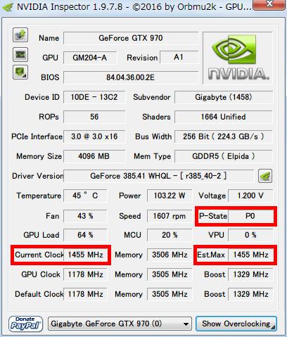 NVIDIA Inspector GTX970 の P-State が P0 (フルロード) の状態で、Current Clock と Est_Max が 1455MHz、Boost Clock 1329MHz を大きく上回る状態