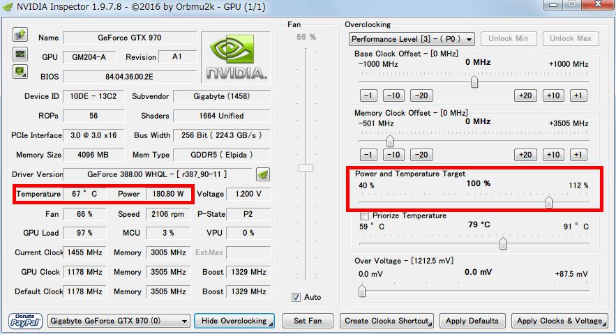 NVIDIA Inspector で GTX970 フルロード(P0)時の設定を、Base Clock Offset 0 Mhz、Power and Temperature Target (Power Target、Power Limit) 100%にした場合、フルロードさせると Power が 180W 前後になり Temperature が 70度近く上昇する