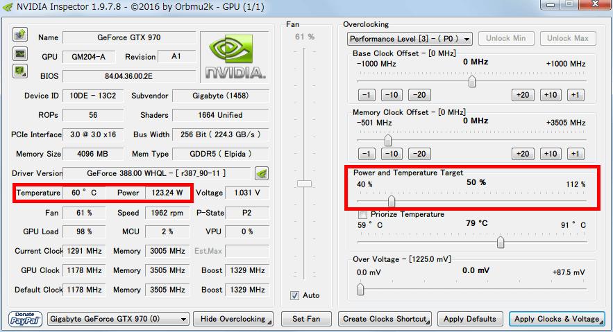 NVIDIA Inspector で GTX970 フルロード(P0)時の設定を、Base Clock Offset 0 Mhz、Power and Temperature Target (Power Target、Power Limit) 50%にした場合、フルロードさせると Power が 120W 前後になり Temperature が 60度前後まで下がる