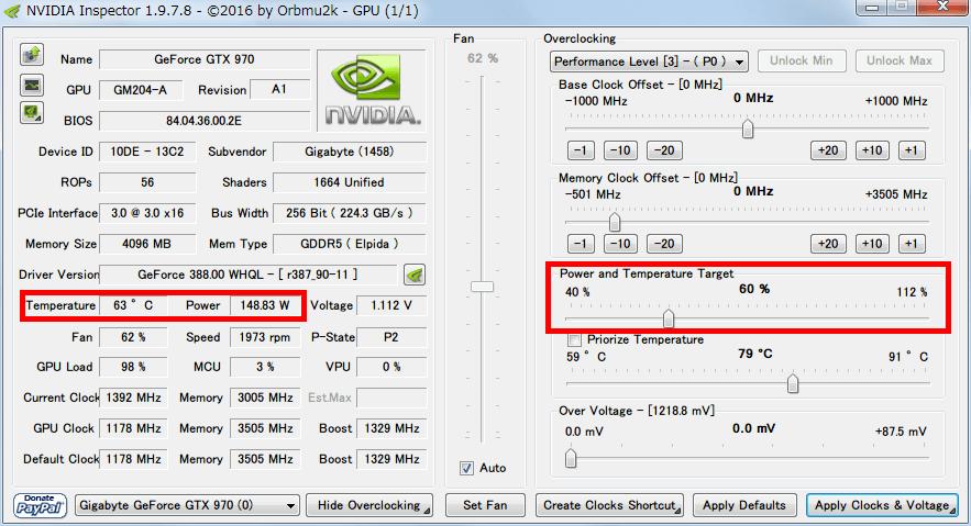 NVIDIA Inspector で GTX970 フルロード(P0)時の設定を、Base Clock Offset 0 Mhz、Power and Temperature Target (Power Target、Power Limit) 60%にした場合、フルロードさせると Power が 150W 前後になり Temperature が 65度前後まで下がる