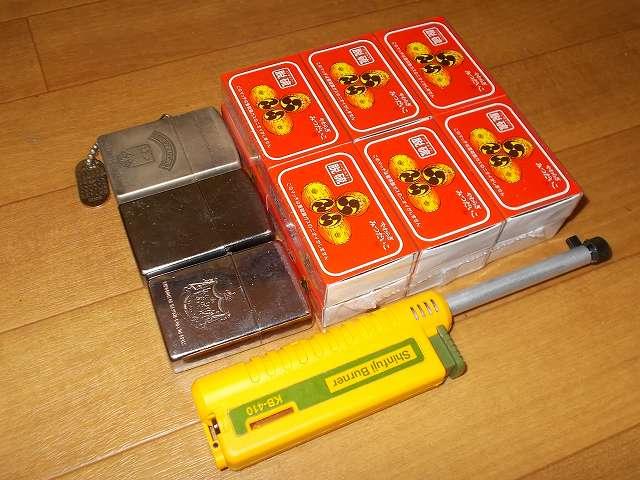 新富士バーナー スライドガスマッチ KB-410 、Zippo ライター、やわらぎみつだいこ 脱硫 並型マッチ 12P