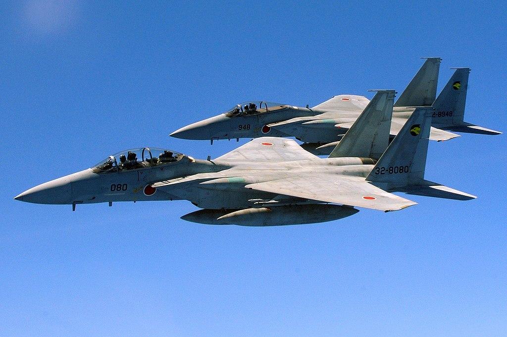 複座型のF-15DJ(手前)と単座型のF-15J(奥) 第6航空団第306飛行隊所属機