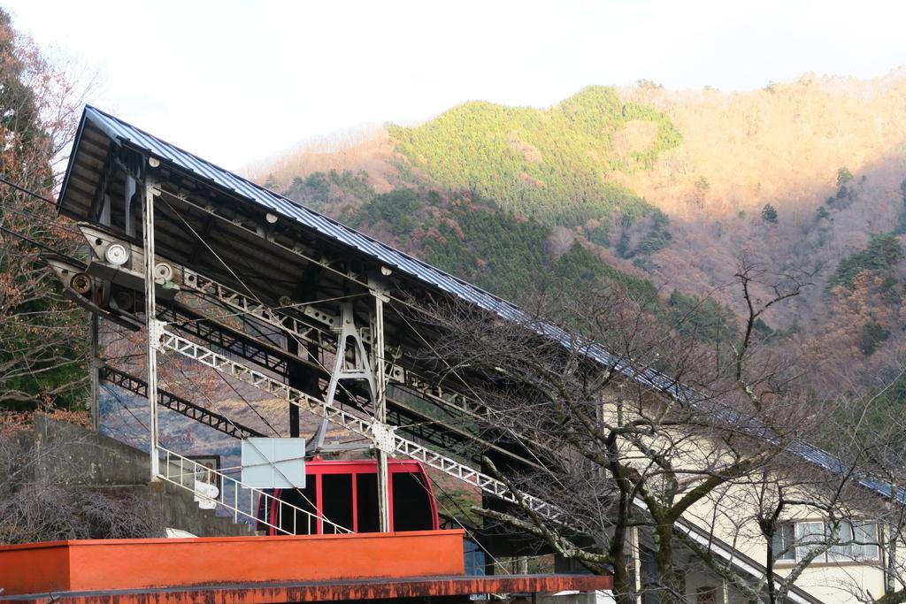 隣接する鬼怒川温泉ロープウェイの鬼怒川温泉山麓駅が見える