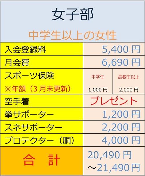 入会費用一覧(女子)2