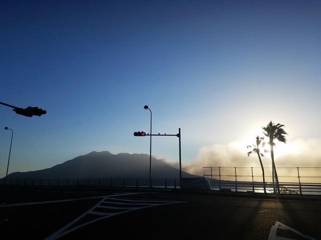 台風22号あけの桜島