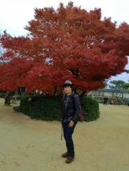 松山城の紅葉とともに