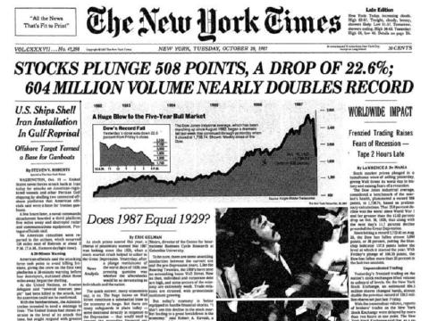1987年10月19日のブラックマンデーを報じるニューヨークタイムス