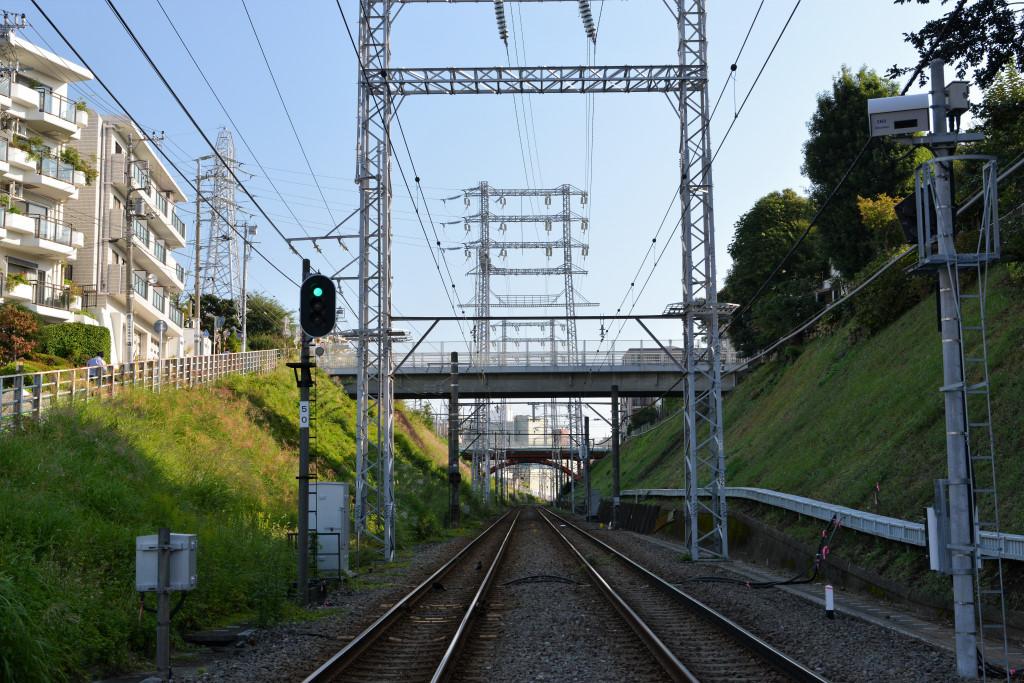 石川台駅前踏切から見た五反田方面