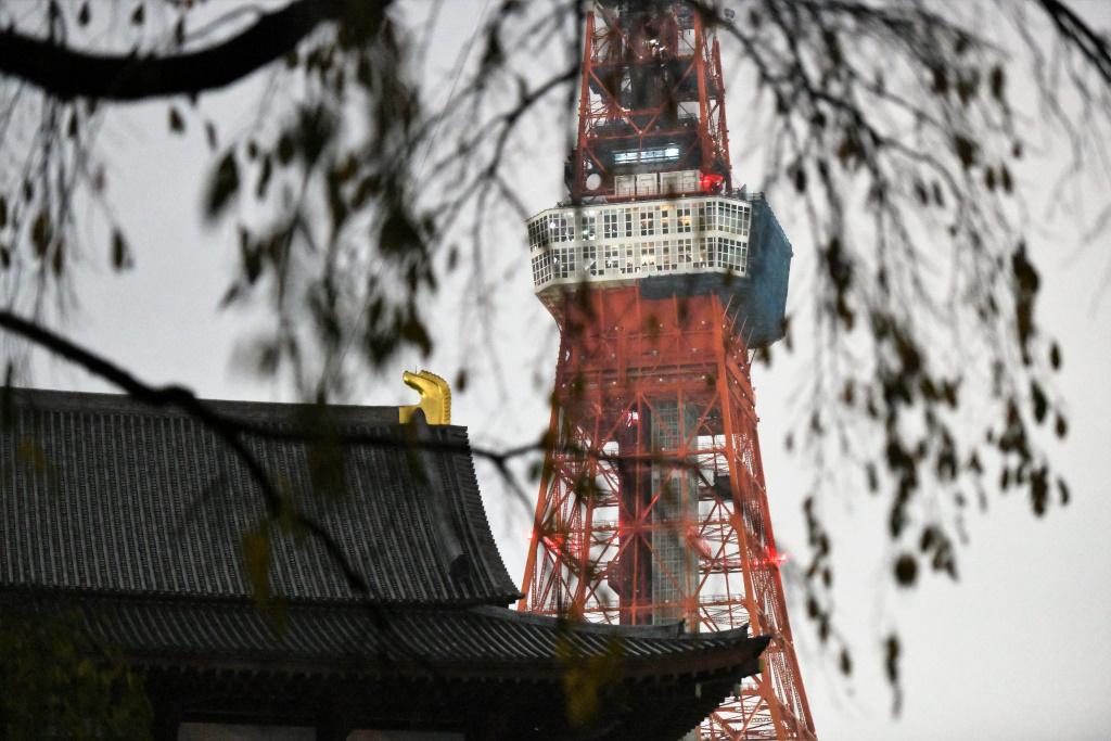 本堂と東京タワー 点灯直前