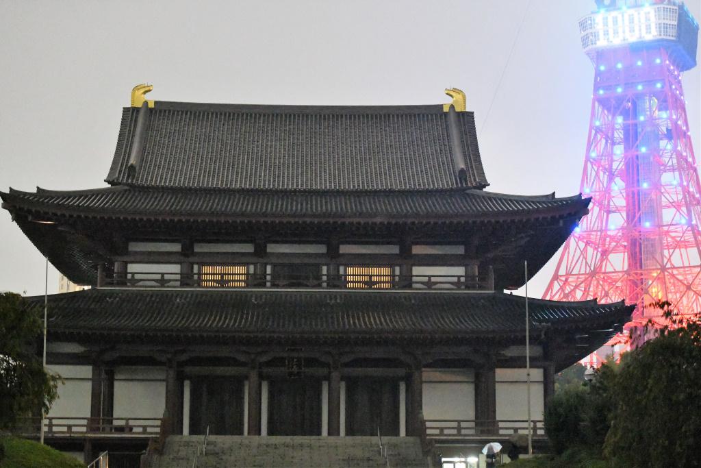 増上寺本堂と東京タワー 1