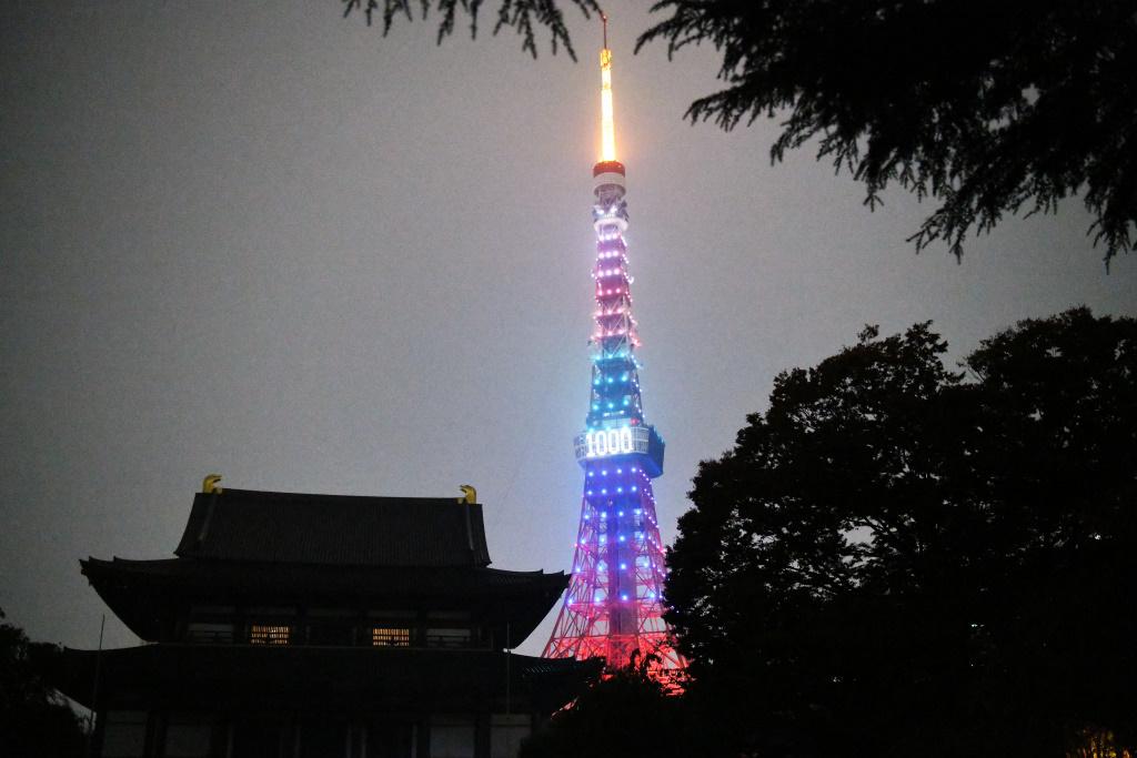 増上寺本堂と東京タワー 2