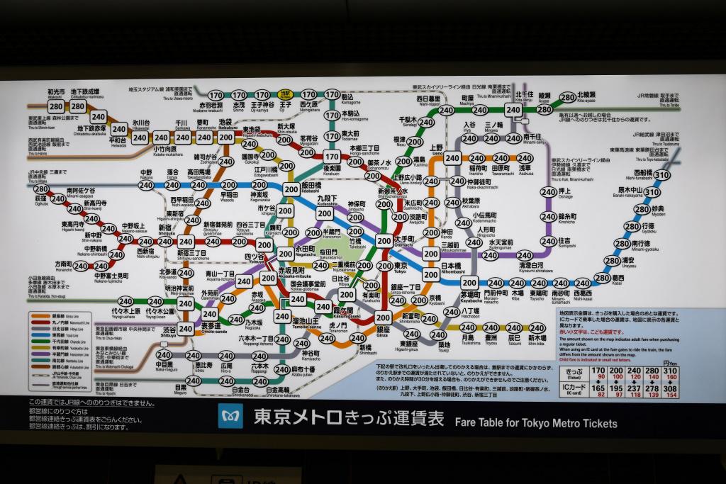 東京メトロ王子駅 運賃表
