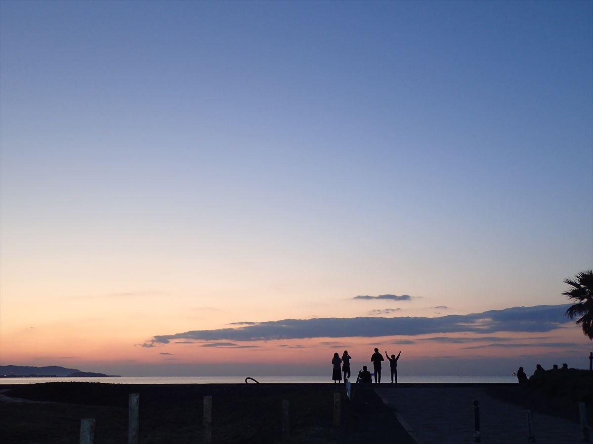 北条海岸夕日