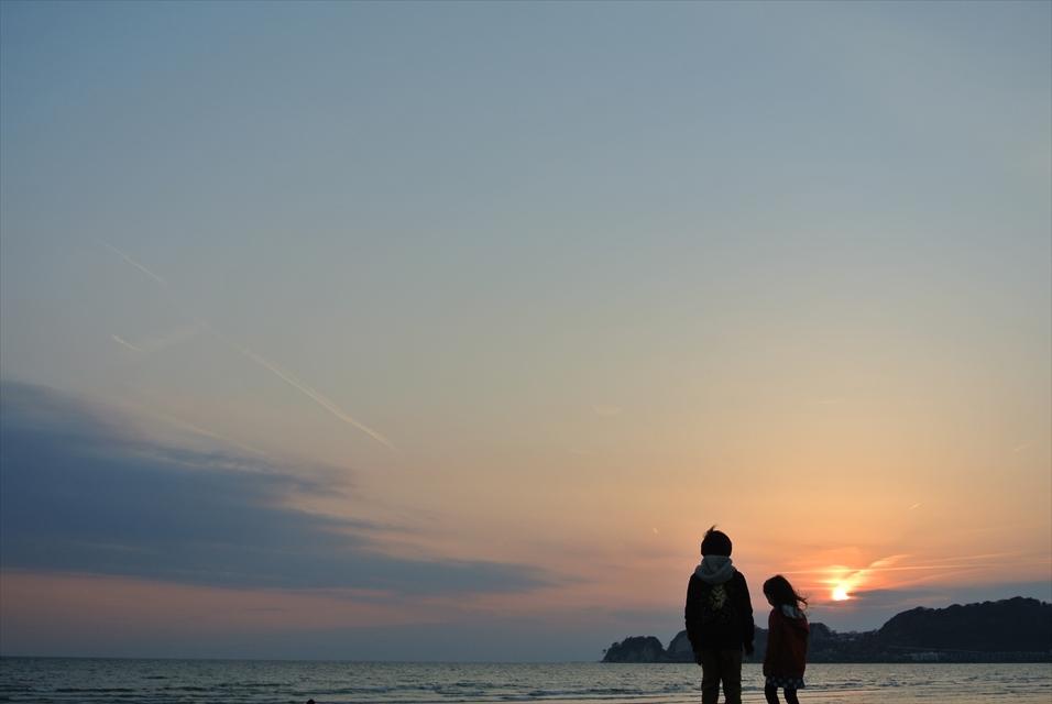 ダイビングの帰り道の夕日