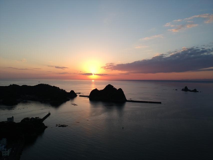 大田子海岸夕日ドローン