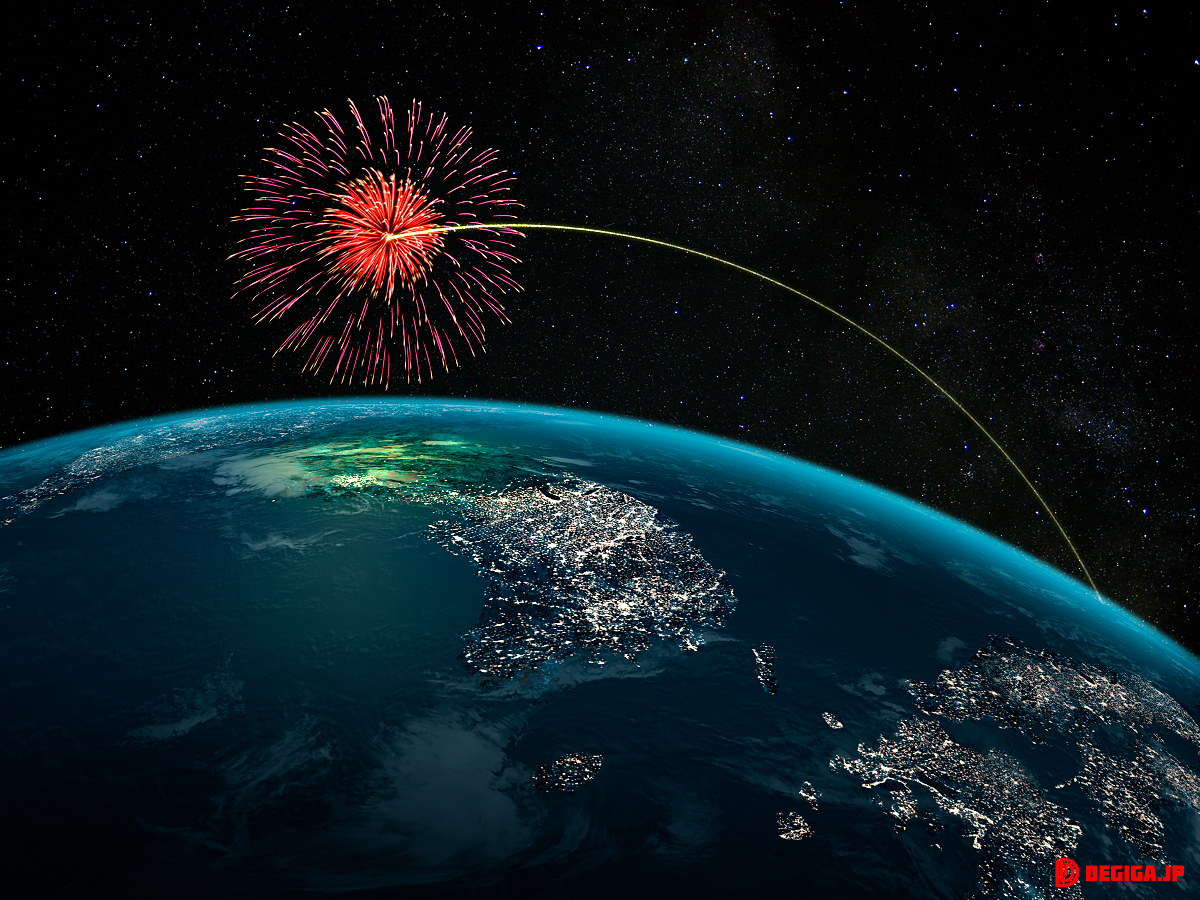 北朝鮮上空に花火を放つ