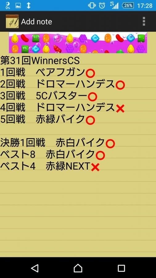 第31回WinnersCS ベスト4 白単天門 戦績 すーPさん
