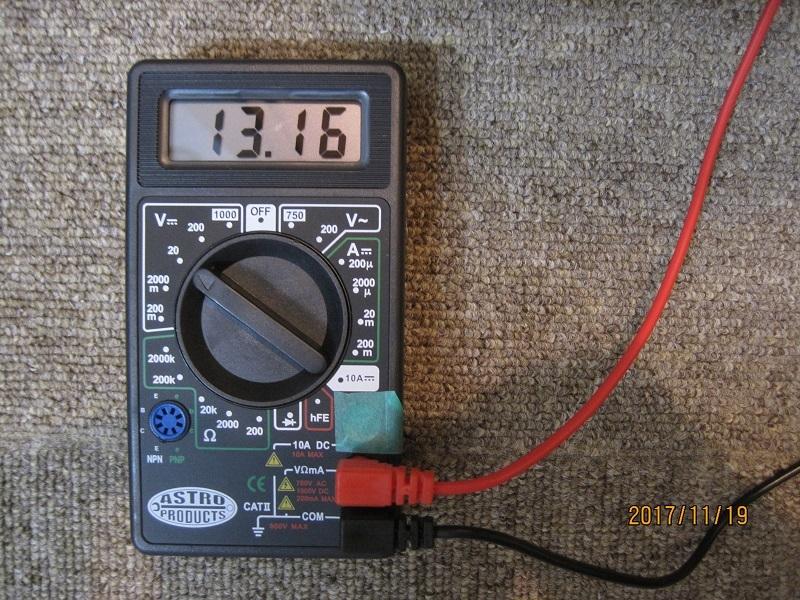 バッテリー充電後
