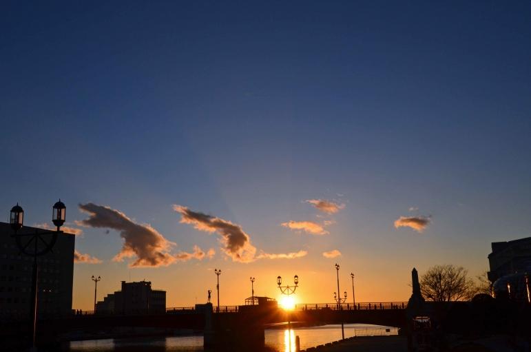 幣舞橋から 夕日