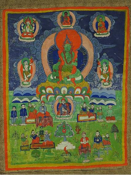 00 チベットタンカ 古仏画 絹本 肉筆保証 清時代 縦約111cm×横約67cm