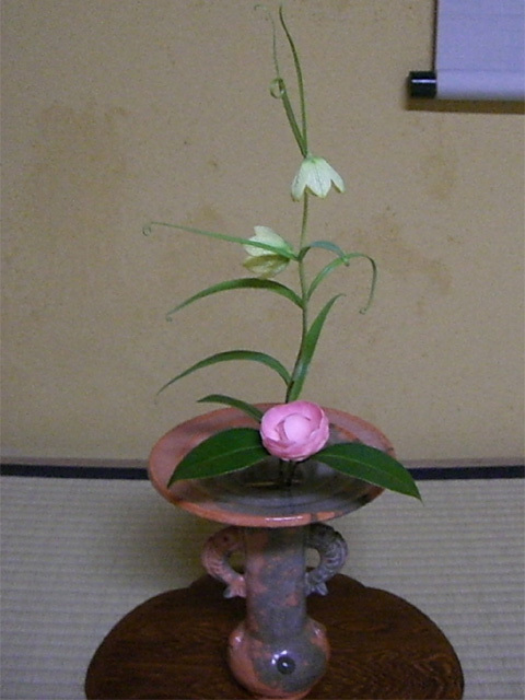 0000 新春の床飾り 乙女椿 貝母 八坂焼 鯉耳
