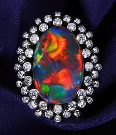 0000 Black Opal Ring, Black Opal 22.736 ct Diamond 2.259 ct Pt 900.
