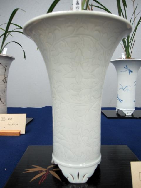 yyys 水晶寒蘭 『水晶六歌』 龍泉窯陰刻様式の白磁欅鉢
