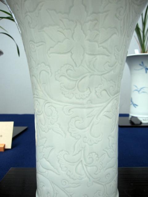 yyys 水晶寒蘭 『水晶六歌』  龍泉窯陰刻様式の青白磁欅鉢