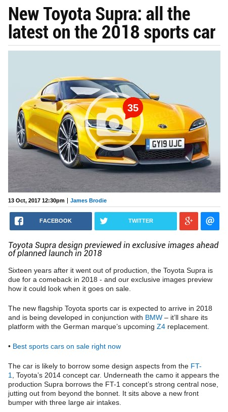 New Toyota Supra spied Pictures New Toyota Supra rear Auto Express