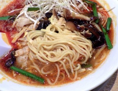 丸源 羽曳野店 酸辣湯麺(麺のアップ)