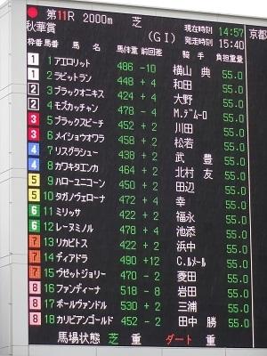 秋華賞電光掲示板オッズ