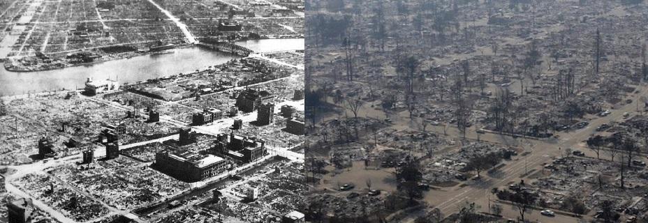 Tokyo_1945-3-10-1焼け野原の東京、中華大陸であった南京大虐殺の再現ドラマの様子を現実化