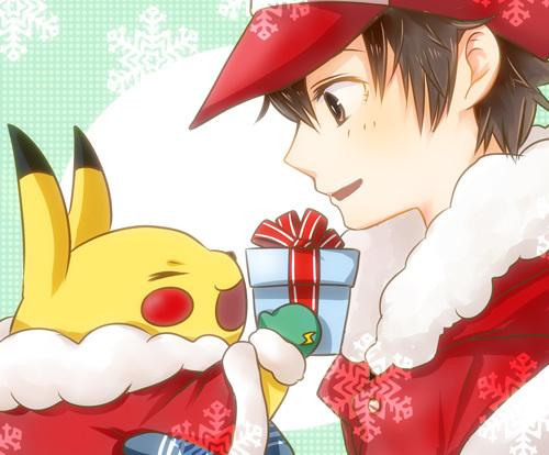 ピカチュウからレッドにクリスマスプレゼントな感じでほのぼの描きたかった。 やっぱり初代が好き。
