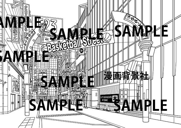 漫画背景素材「渋谷センター街(人物なし)」イラスト