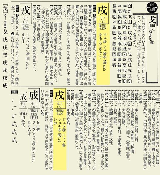 『新明解現代漢和辞典』から「戍」と「戌」