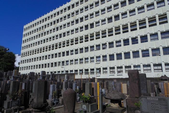 宝泉寺と早稲田大学9号館
