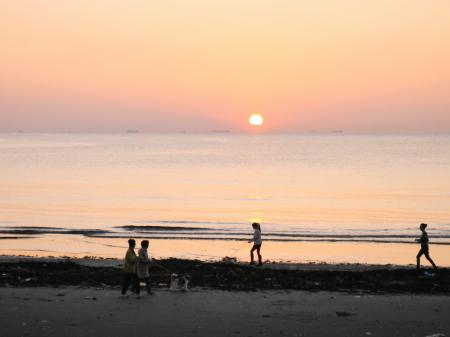岩井海岸夕日