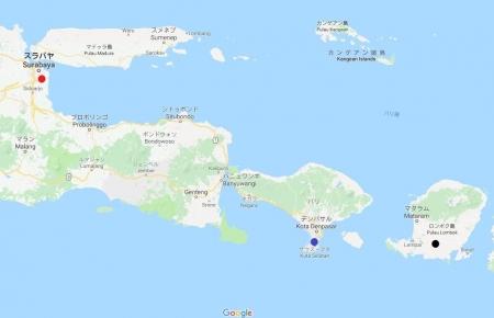 バリ島の代替空港地図