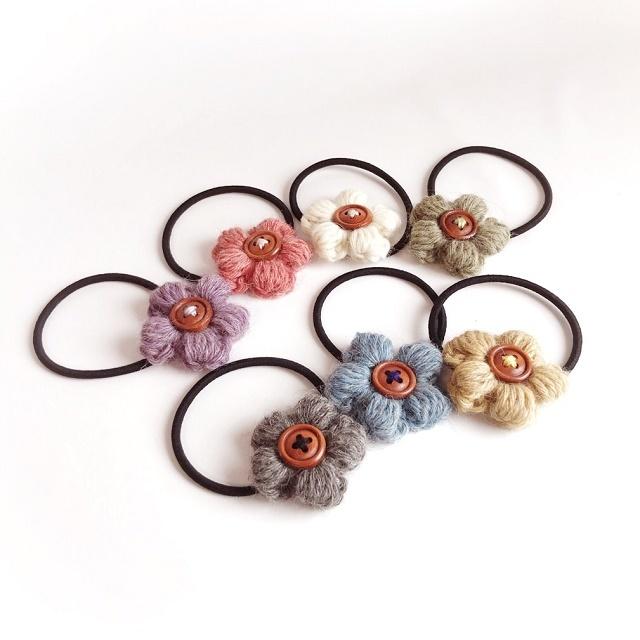 手編み雑貨 HanahanD アルパカ毛糸 お花のヘアゴム