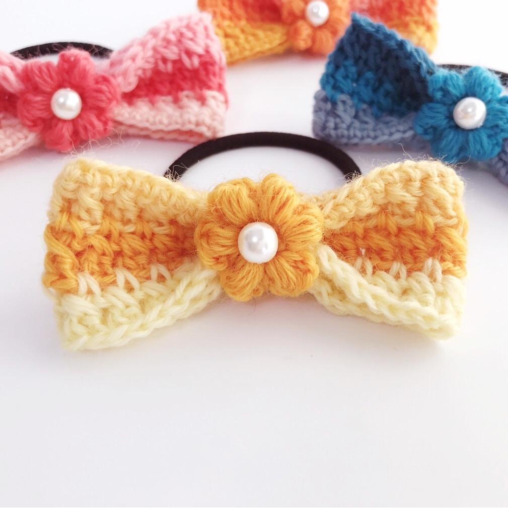 手編み雑貨 HanahanD 花リボンのヘアゴム 秋冬ウール