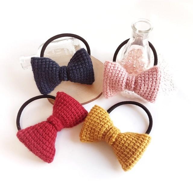 手編み雑貨 HanahanD アフガン編み リボンのヘアゴム
