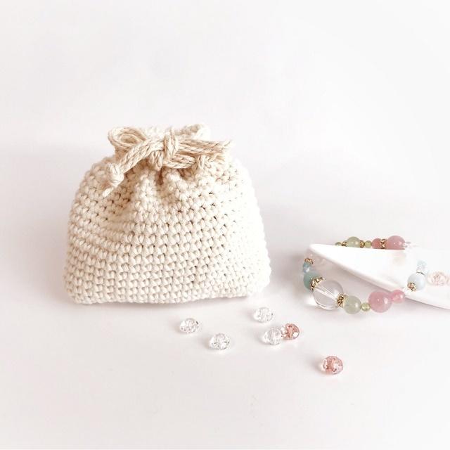 手編み雑貨 HanahanD オーガニックコットンの巾着袋