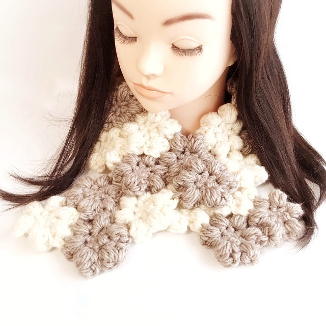 手編み雑貨HanahanD モチーフ繋ぎの花マフラー あったか冬小物