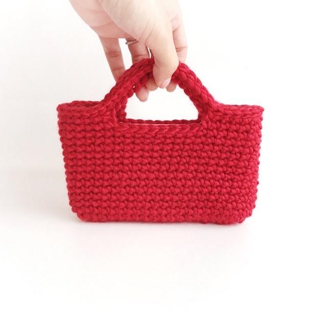 手編み雑貨 HanahanD 冬のスマホケース 手編みウールバッグ